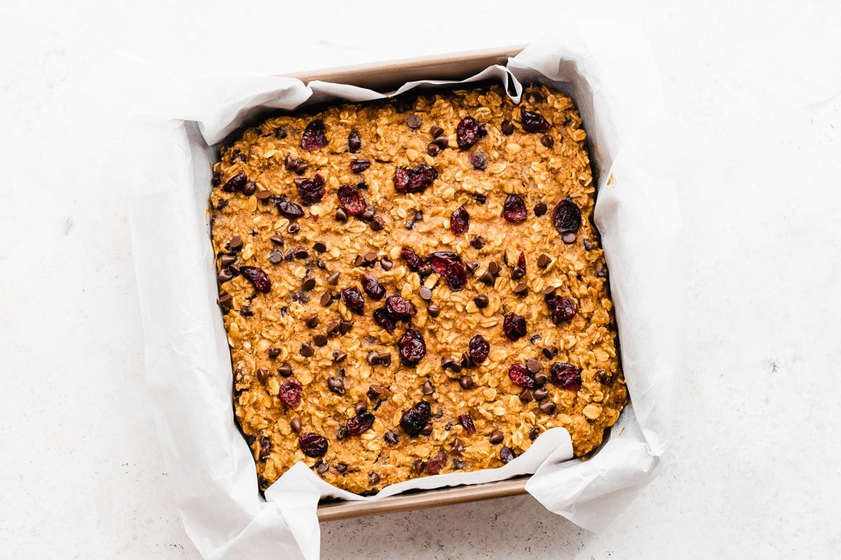 Gluten Free Healthy Pumpkin Bars with Chocolate Chips and Cranberries