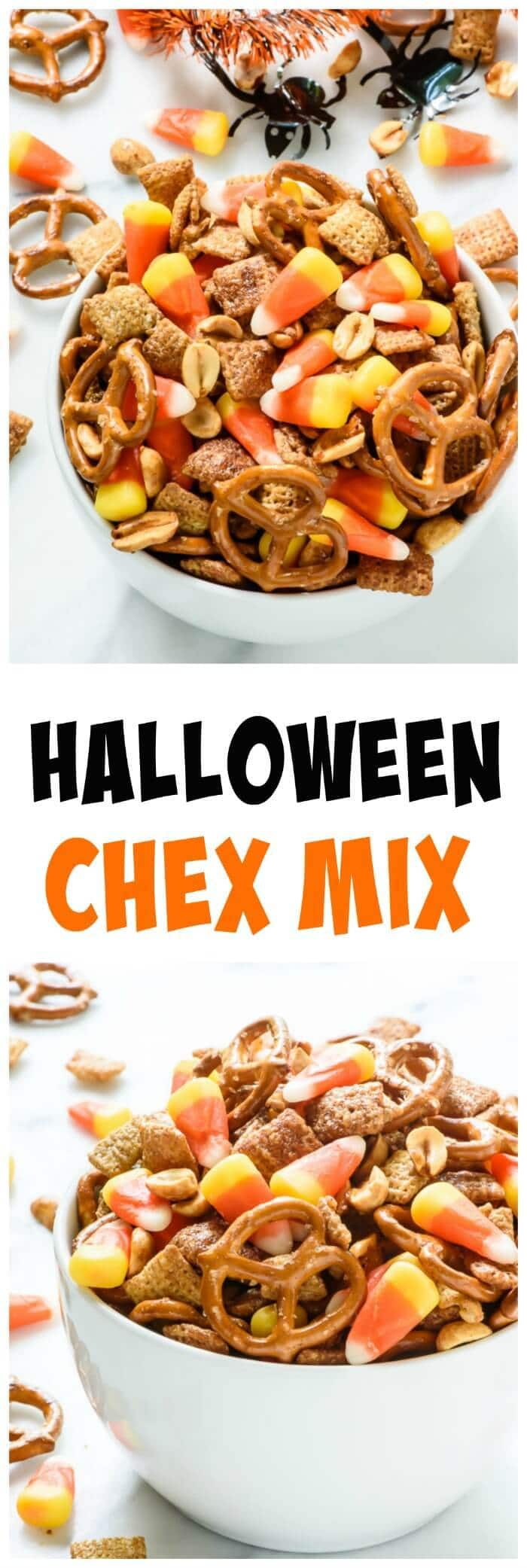Halloween Chex Mix with Salty Maple Peanuts. Perfect Halloween party food and for trick-or-treat bags!