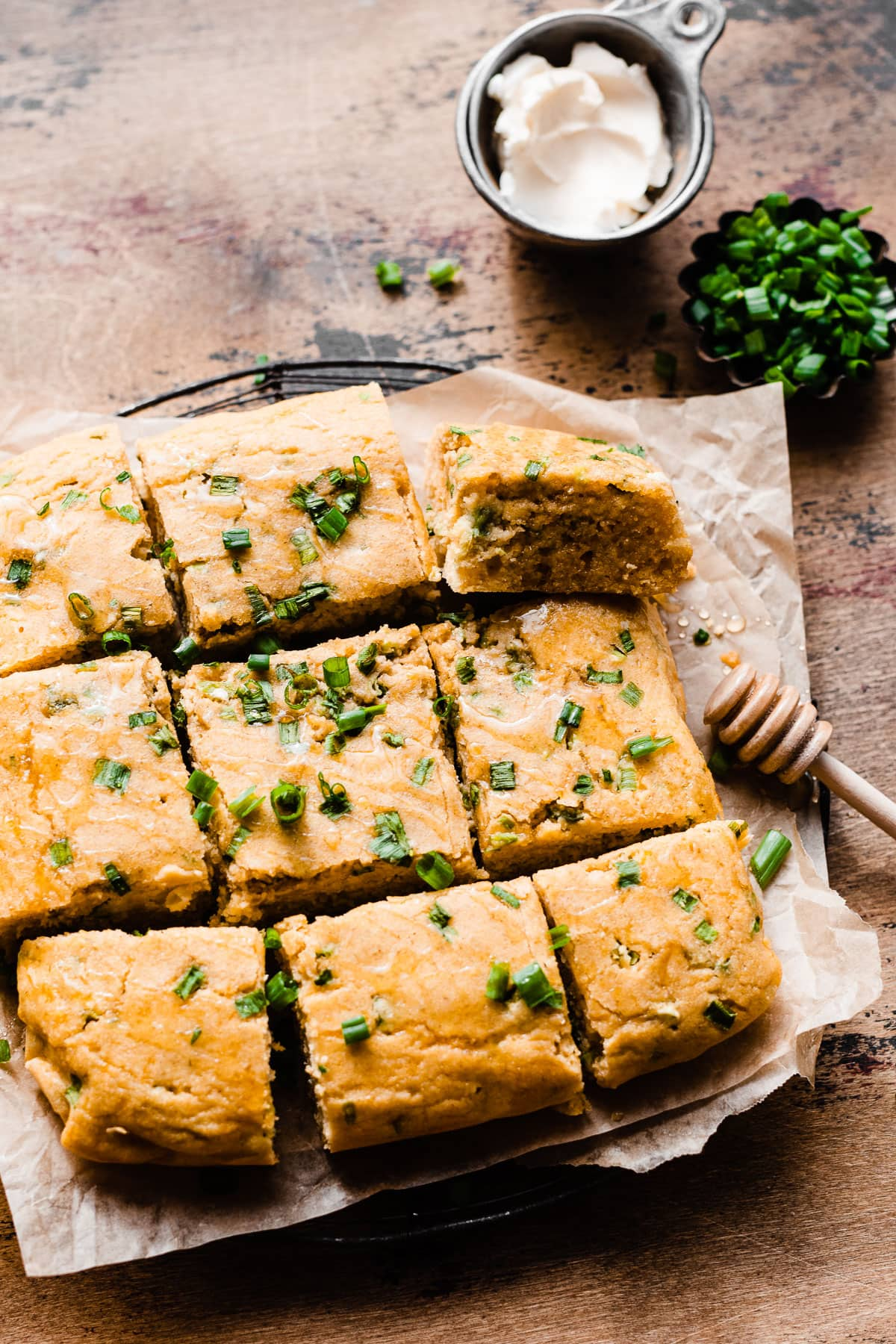 Healthy Jalapeno Cornbread made with unsweetened apple sauce
