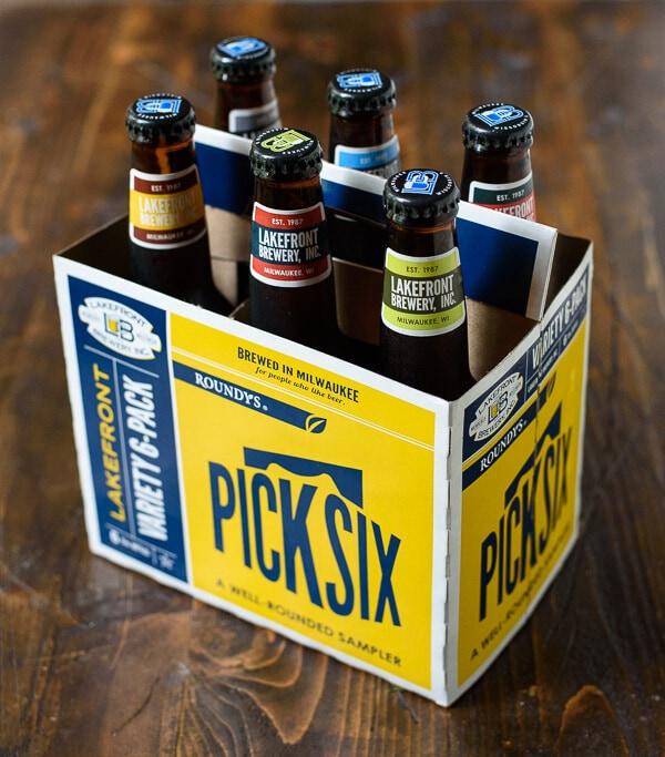 6-pack of beer in bottles