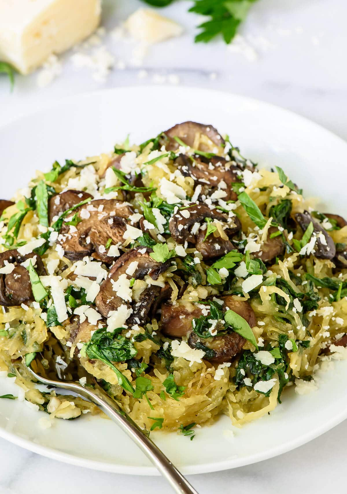 Roasted Spaghetti Squash with Parmesan and Herbs