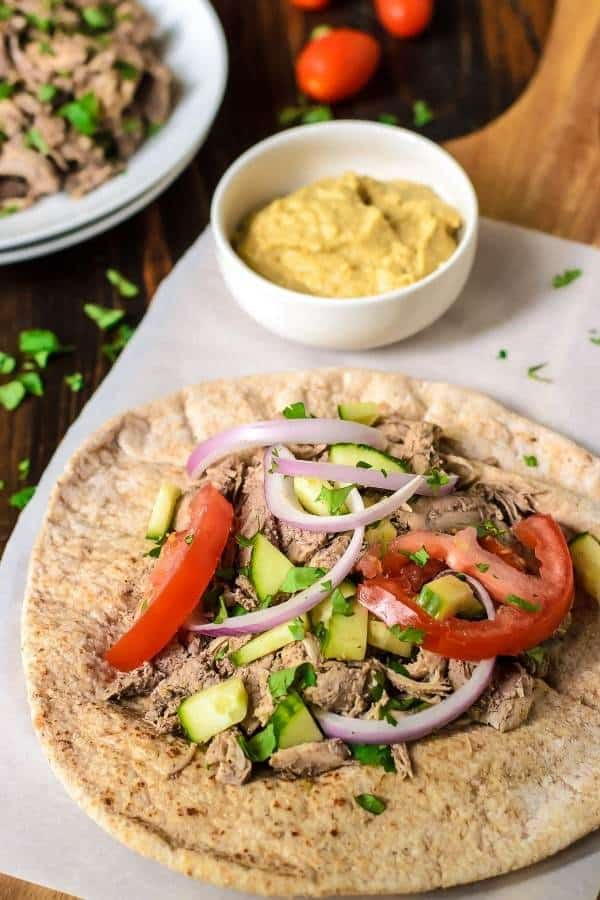 Slow Cooker Chicken Shawarma recipe made with Garlic and classic Greek spices