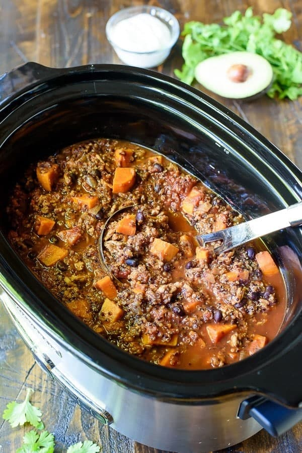 Slow Cooker Turkey Sweet Potato Quinoa Chili
