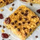 These Pumpkin Peanut Butter Oatmeal Bars have NO butter, NO oil and NO flour, and they taste amazing! So soft and chewy. Eat them for breakfast, snacks, or dessert!