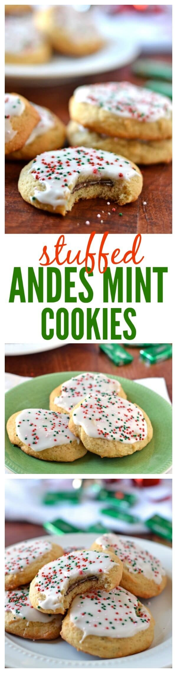 Andes Mint Cookies. Soft and fluffy sugar cookies, stuffed with creamy Andes Mint candies. The perfect Christmas cookie recipe for your cookie exchange. Everyone will love the surprise bite of chocolate mint!