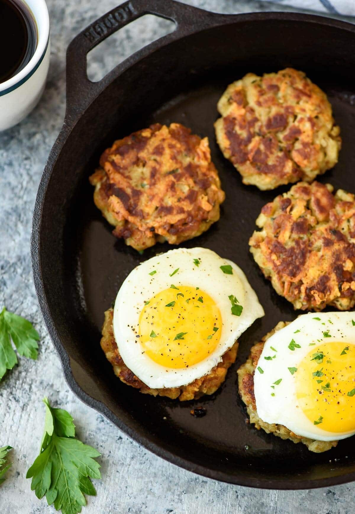 Cheesy Breakfast Stuffing Cakes made with leftover Thanksgiving stuffing.