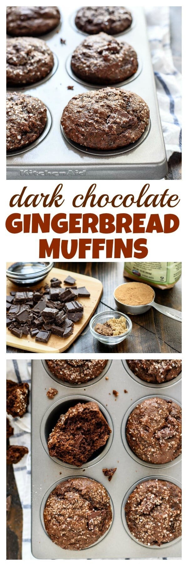This is the BEST gingerbread Muffin recipe. Moist and fluffy with lots of holiday spices and dark chocolate. Made with coconut oil and Greek yogurt, you'll never believe these are good for you too!