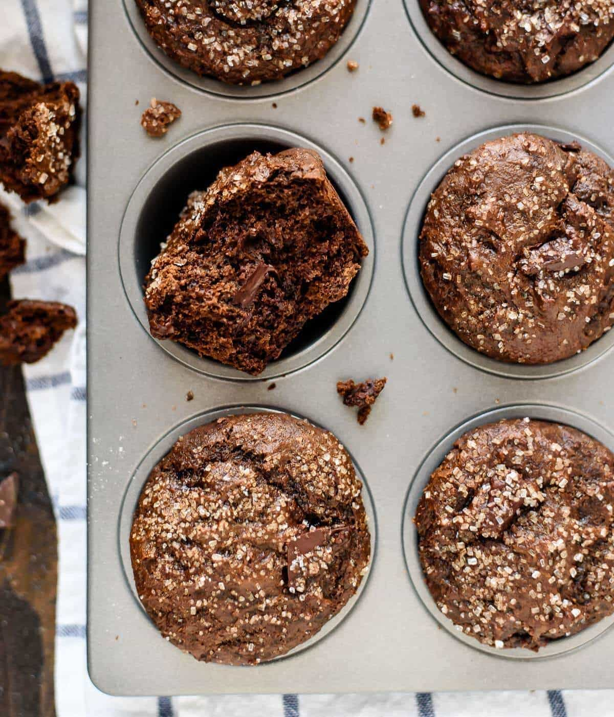 The BEST Gingerbread Muffins made with Greek yogurt, coconut oil, and dark chocolate, Every bite is loaded with chocolate and spices. I can't believe these are healthy muffins!