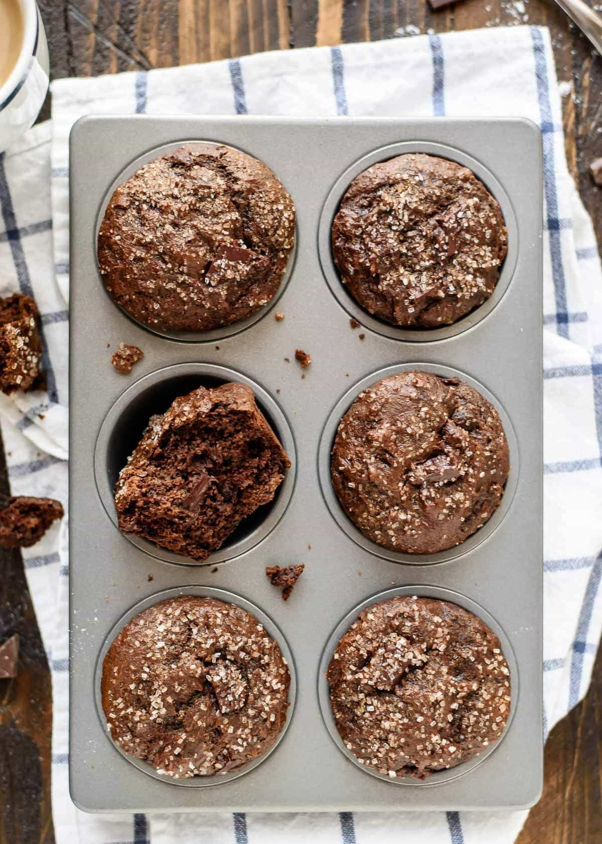 These gingerbread muffins are filled with chocolate and spices and they are good for your too! Looking for a healthy muffin recipe that doesn't taste healthy? This is it!