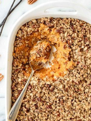 Vanilla beans are the secret ingredient that makes this Healthy Sweet Potato Casserole irresistible! It's vegan, gluten free, and dairy free, but all of your guests will want second helpings.