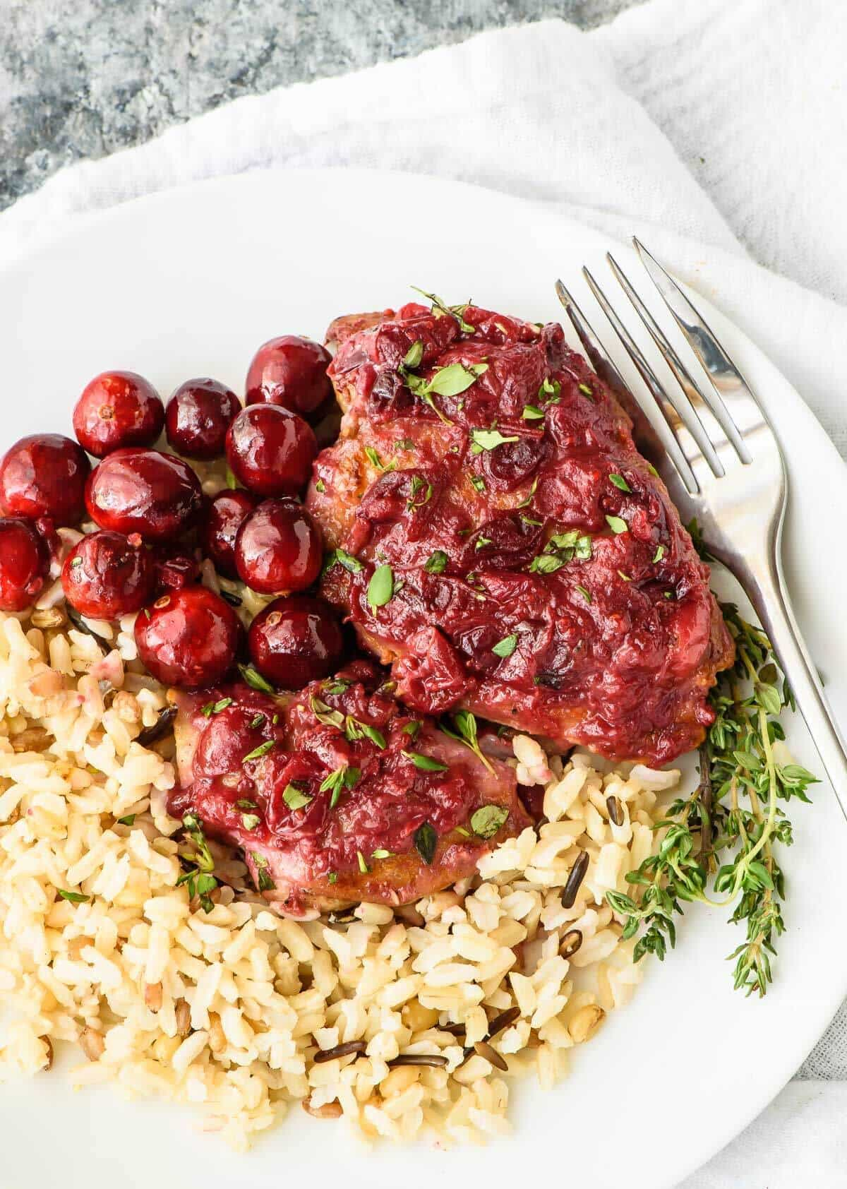 One Pan Cranberry Chicken with Wild Rice. A fast and healthy dinner recipe!