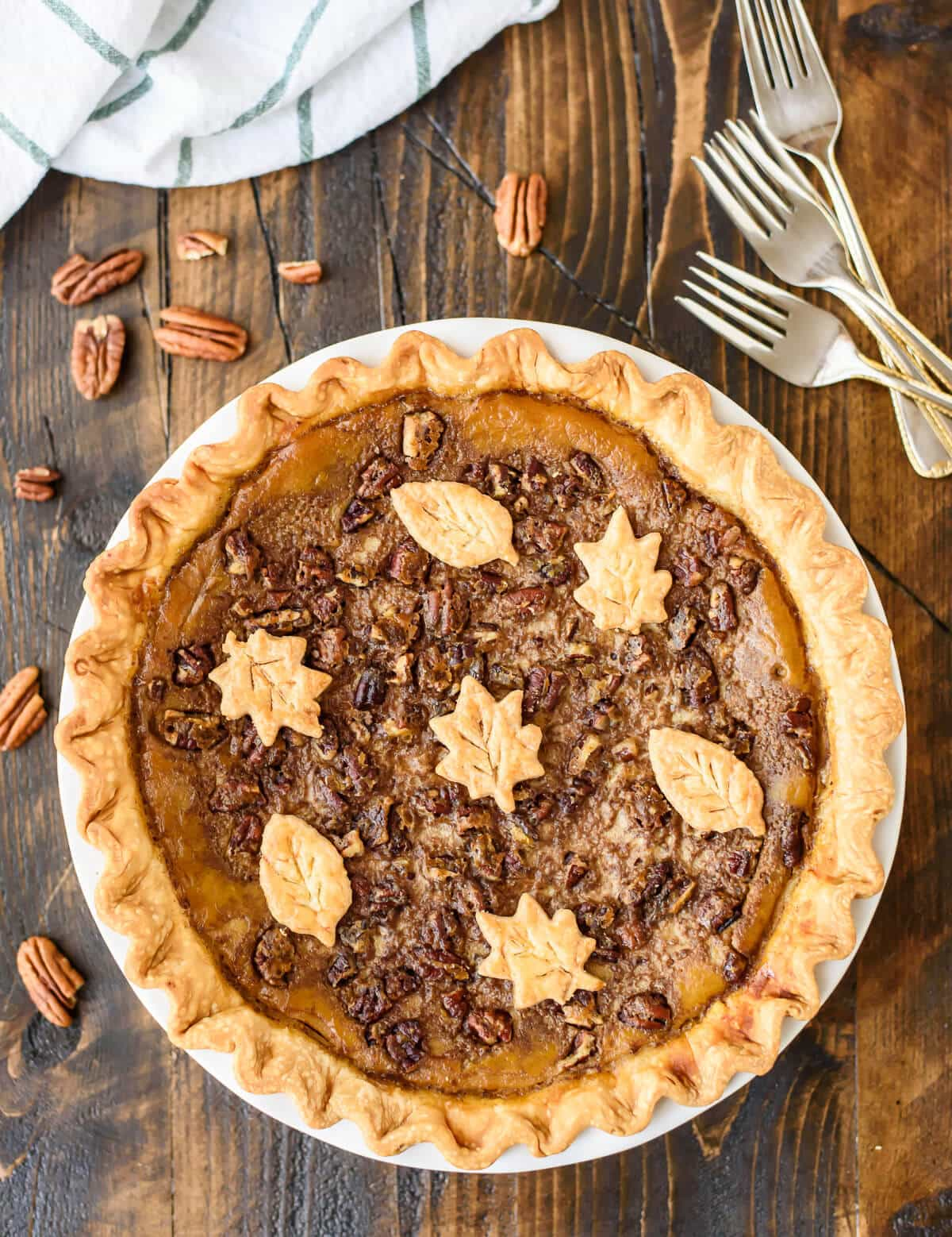 Perfect Pumpkin Pecan Pie, plus how to bake a perfect pumpkin pie that doesn't crack or burn!