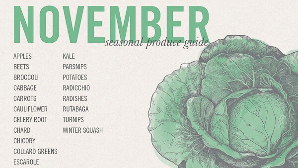 What's in season in November. The best seasonal vegetables and fruits to use in November