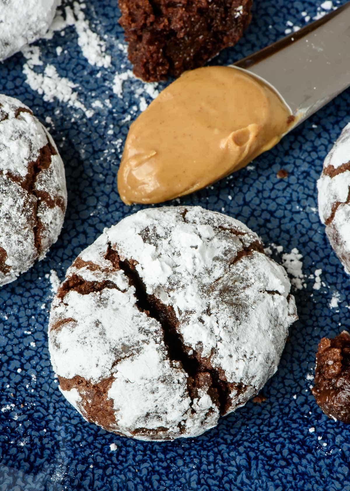 Peanut Butter Chocolate Crinkle Cookies