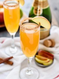 Apple Cider Champagne Cocktails. A beautiful and easy signature drink that only needs 3 ingredients!