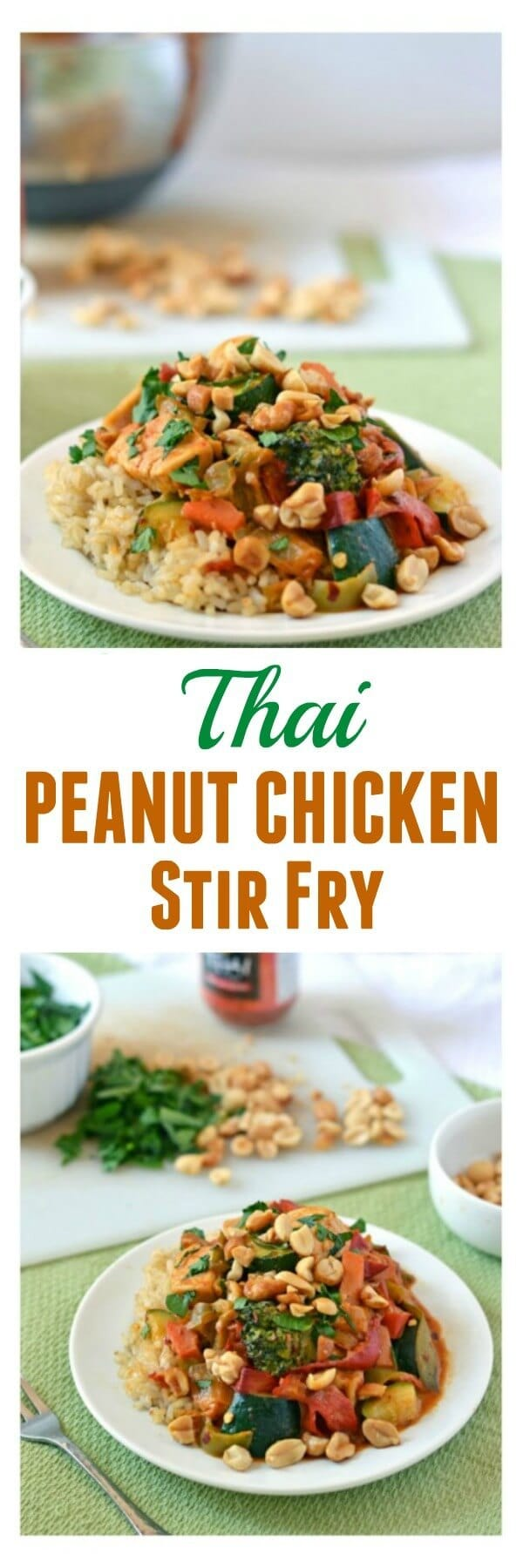 Chicken Stir Fry with Thai Peanut Sauce. A quick and easy dinner that's packed with flavor!