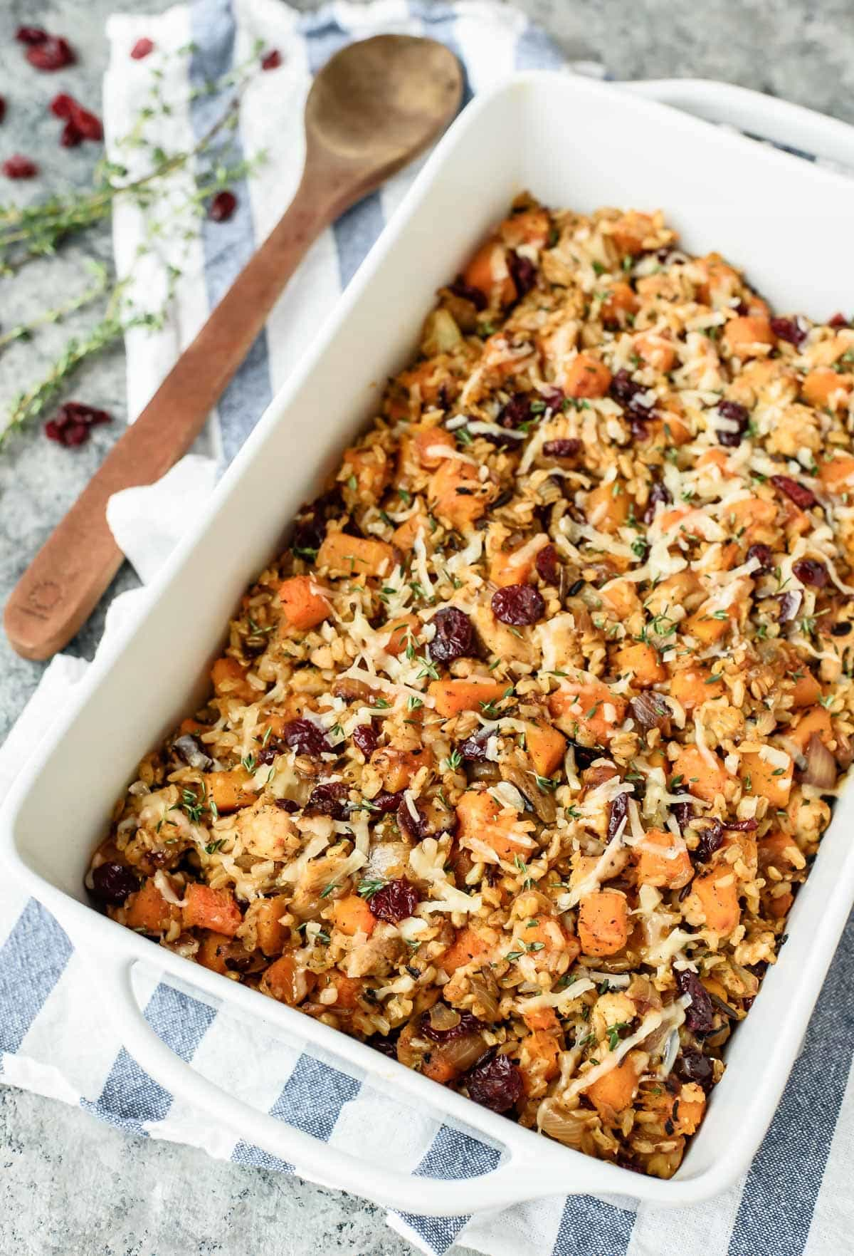 Chicken and Wild Rice Casserole with Butternut Squash. Great freezer meal to bring to friends and a healthy dinner too! Gluten free.