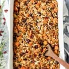 An easy and healthy chicken dinner: Chicken and Wild Rice Casserole with Butternut Squash and Cranberries. Crowd pleasing and gluten free!