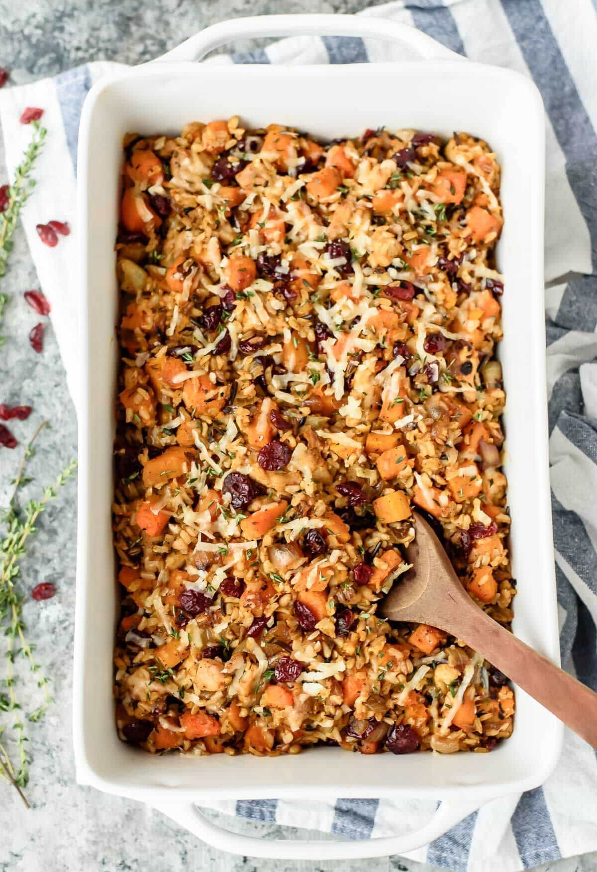 Wild rice recipes -- photo of Chicken and Wild Rice Casserole with Butternut Squash and Cranberries by Well Plated