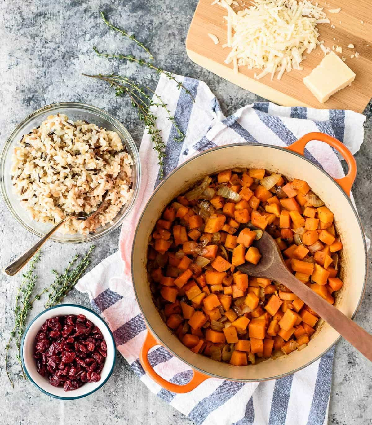 Butternut squash takes this easy chicken and wild rice casserole over the top! (gluten free)
