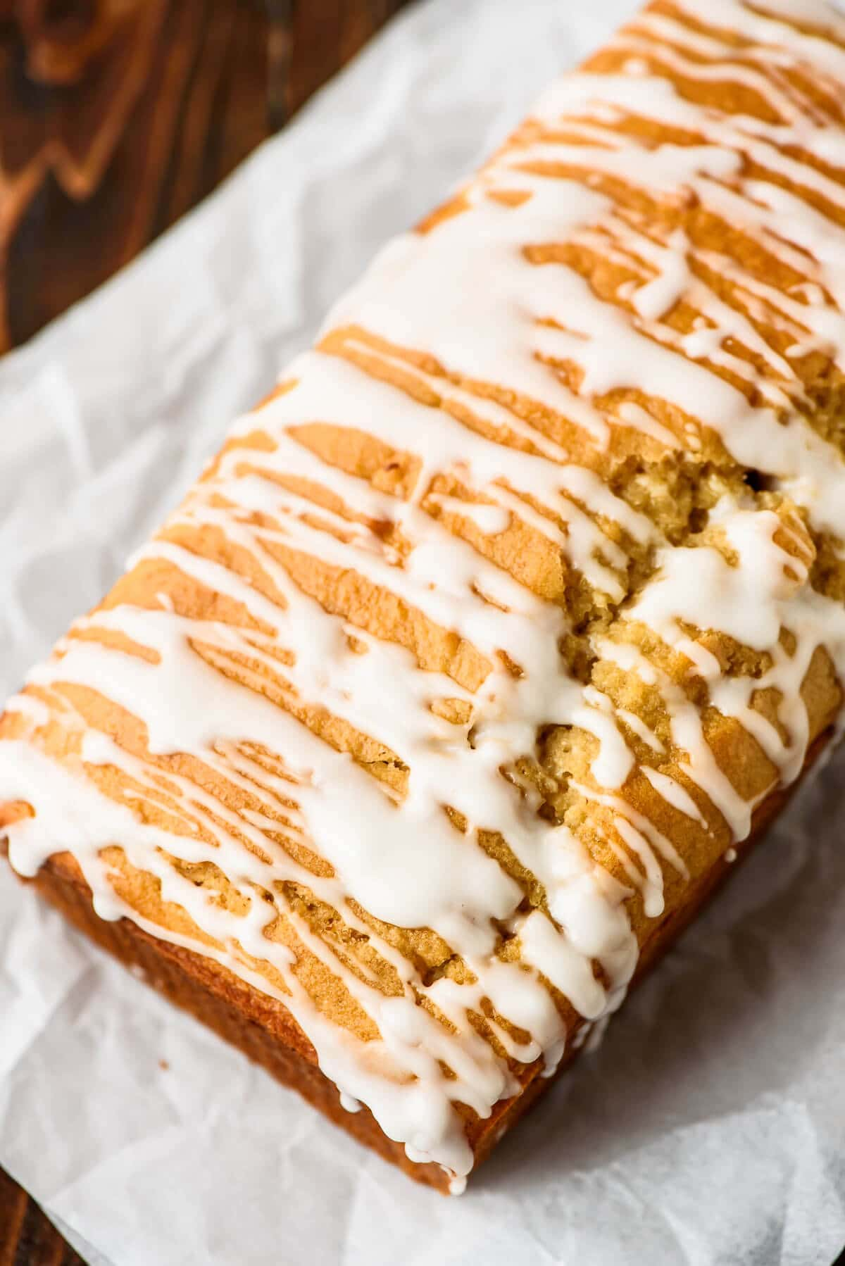 Eggnog Bread recipe - Moist, buttery, and packed with holiday flavors like nutmeg and vanilla. The rum glaze puts it over the top!