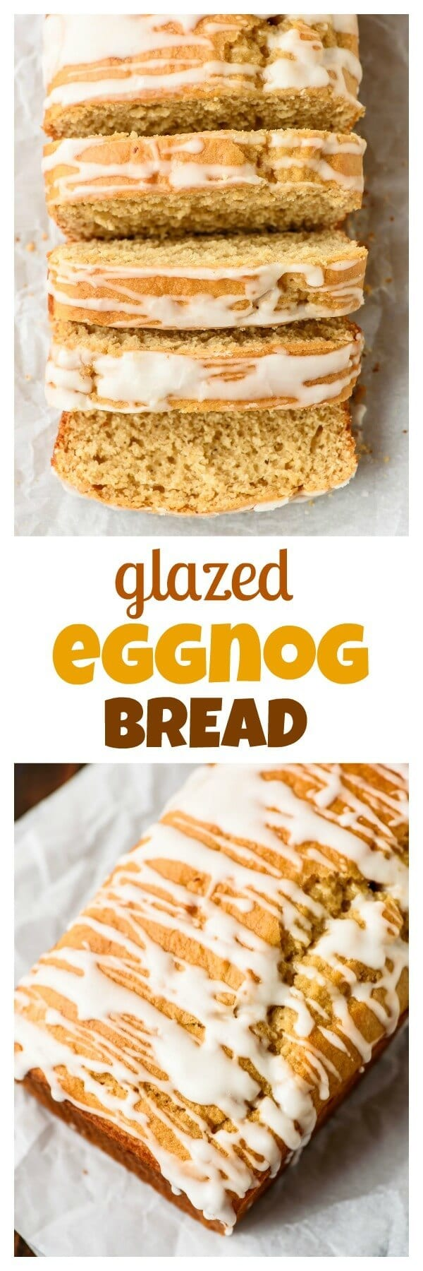 Glazed Eggnog Bread recipe - Moist, buttery, and packed with holiday flavors like vanilla and nutmeg. Easy to make, and the rum glaze puts it over the top!