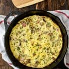 Cheesy Ham and Potato Frittata. Perfect for any meal! Easy to make, healthy, and a perfect way to use up leftover veggies too. (gluten free!)