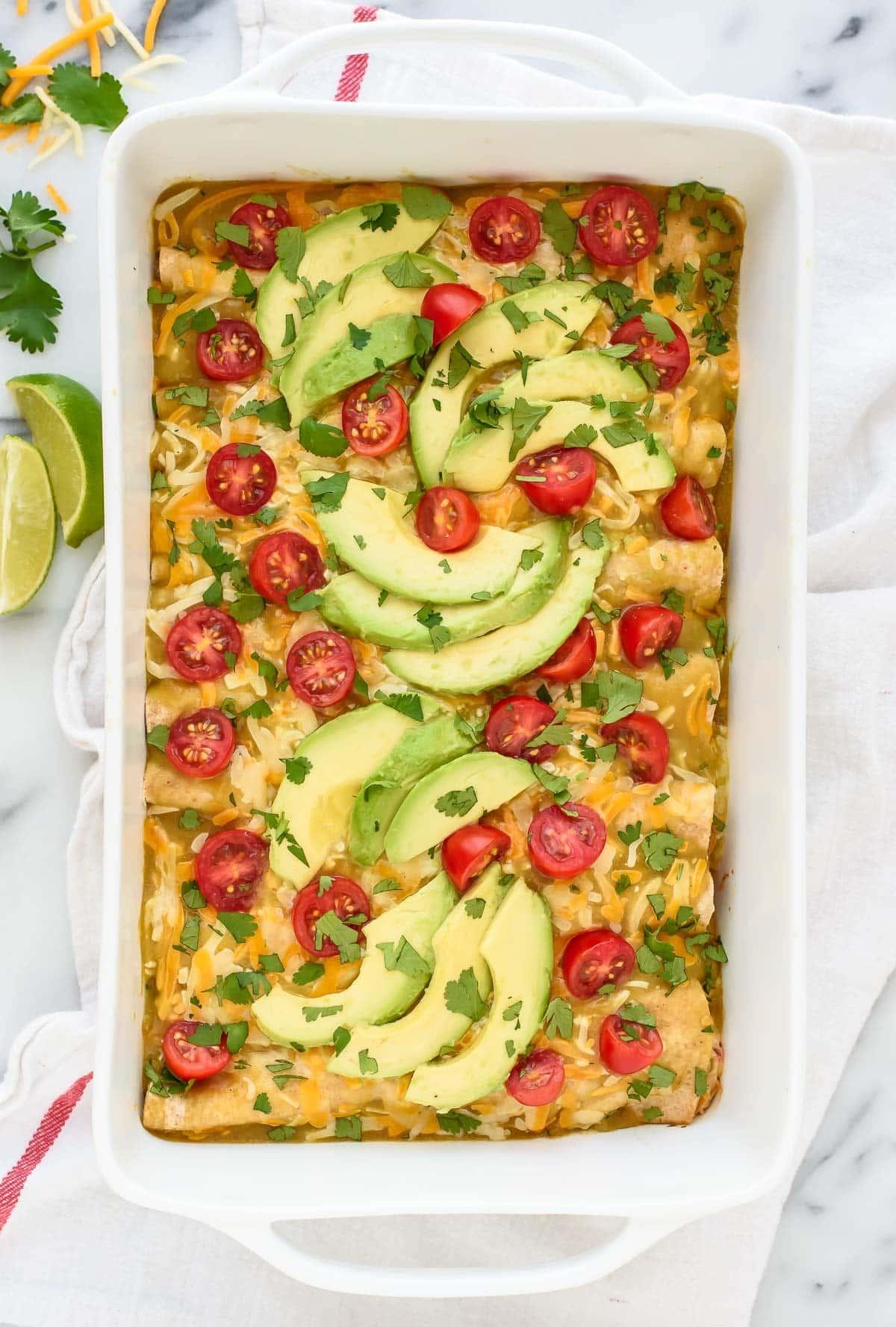 Creamy Green Chile Chicken Enchiladas. A simple and healthy recipe!