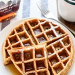 Blender Whole Wheat Waffles. A low fat, healthy waffle recipe that you can make in your blender! Easy to make in big batches and freeze for a healthy breakfast on the go.