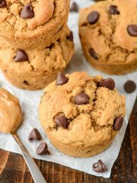 Chocolate Chip Peanut Butter Muffins. So moist and fluffy, you'd never believe these peanut butter muffins are healthy too!