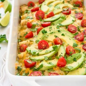 Green Chile Chicken Enchiladas. Cheesy, creamy chicken enchiladas that are easy to make and healthy too!
