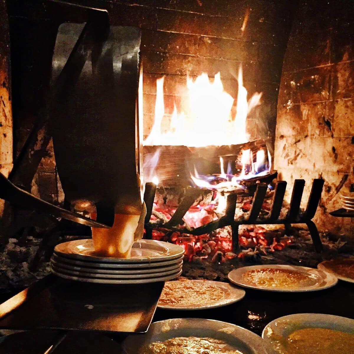 Raclette at Fireside Dining Deer Valley