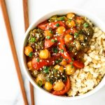 General Tso's Chickpeas - All of the flavor of everyone's favorite takeout dish, but easier to make with HALF the calories.