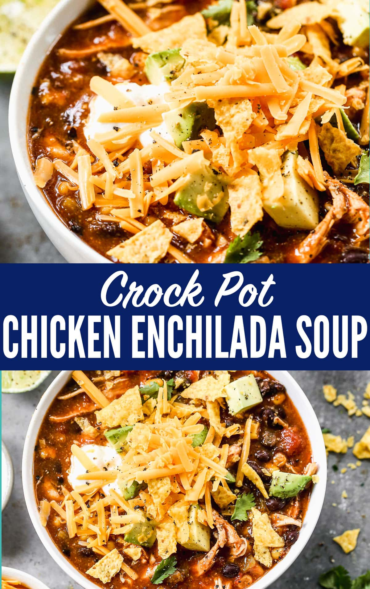 This slow cooker chicken enchilada soup recipe is easy, cheesy, and healthy too! One of mybest crock pot recipesfor an easy Mexican meal, that takes only 10 minutes to prep! #slowcooker #crockpot #soup #Mexicanrecipes #chicken