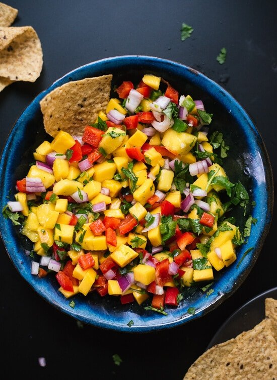 An awesome list of healthy football food, including this mango salsa!