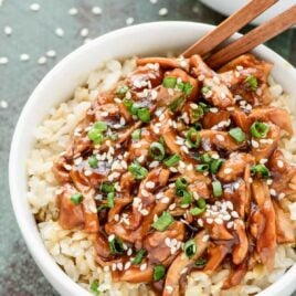 bowl of crock pot teriyaki chicken over rice