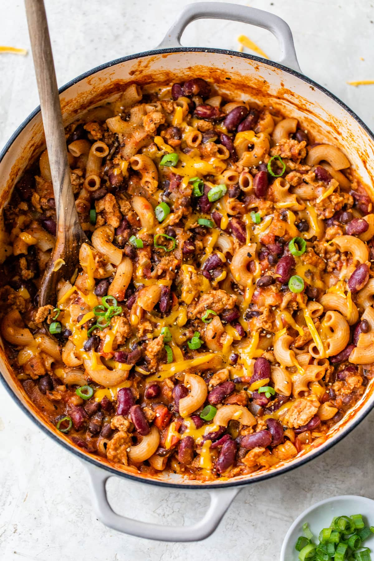 One Pot Chili Mac and Cheese recipe. Lighted up and made in just one pot!