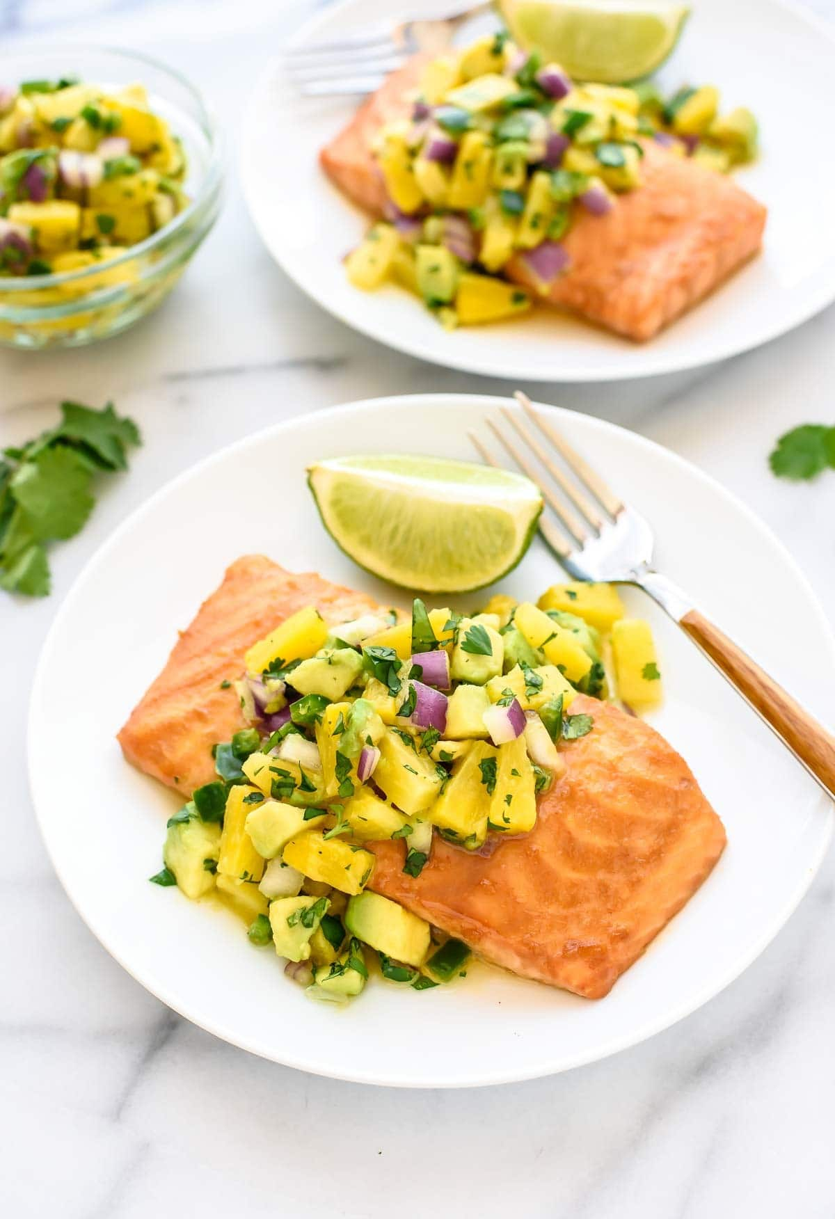 Pineapple Glazed Salmon. An easy healthy dinner that's packed with flavor!