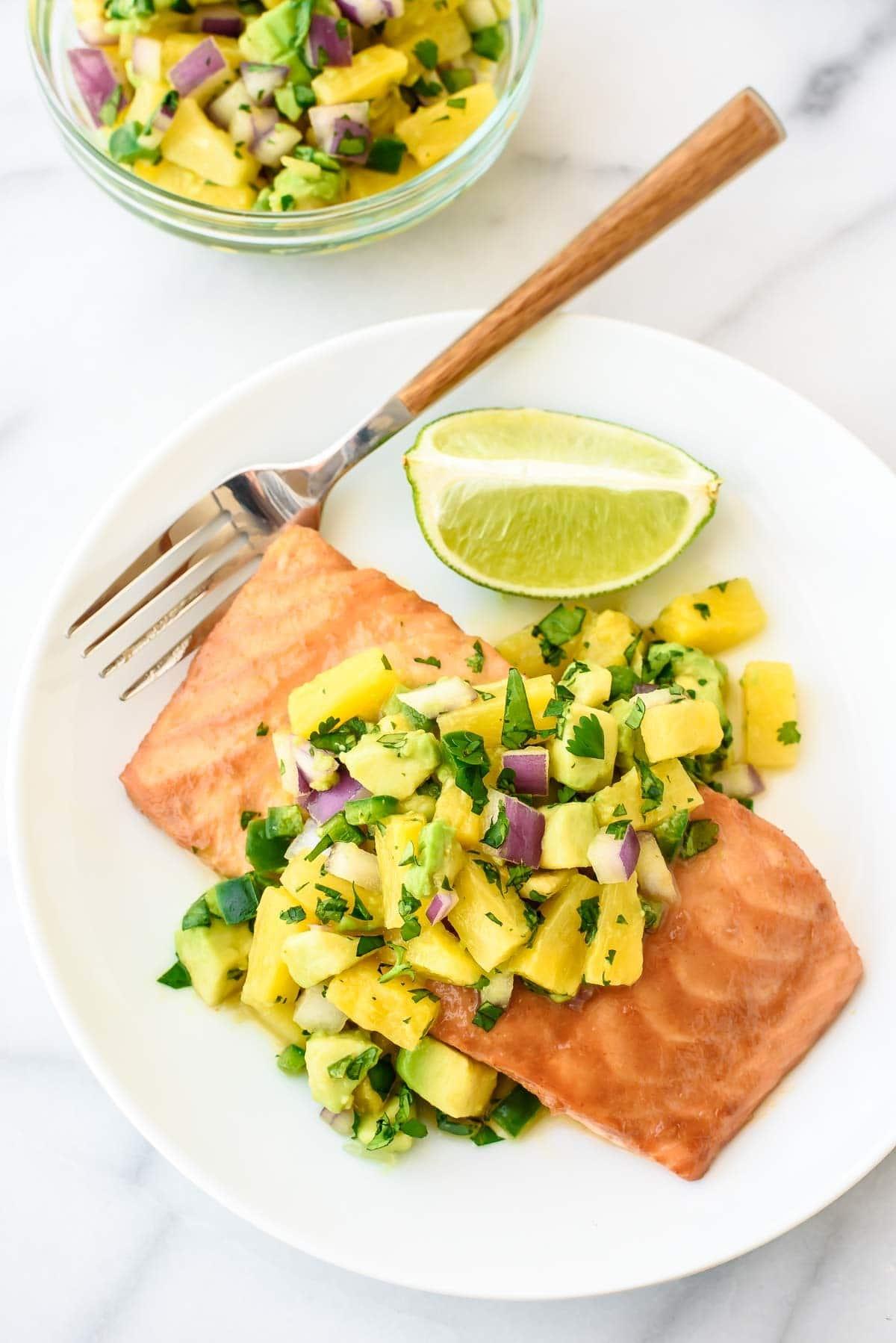 Pineapple Glazed Salmon with Avocado Salsa