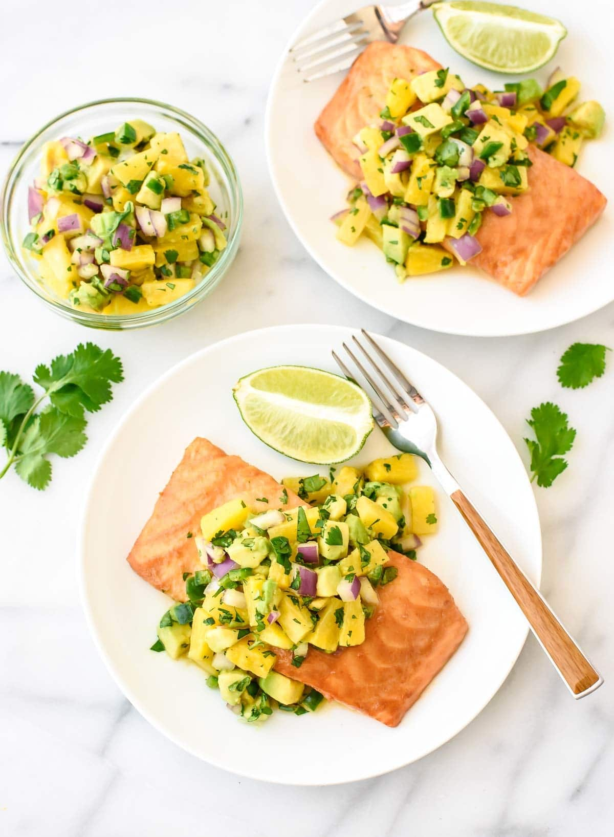 Easy Pineapple Glazed Salmon with Avocado Salsa. Healthy and flavorful!