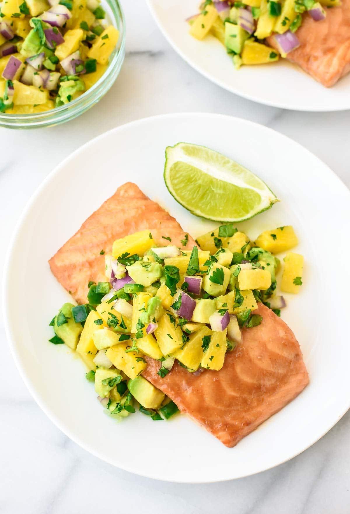 Glazed Salmon with Pineapple Salsa