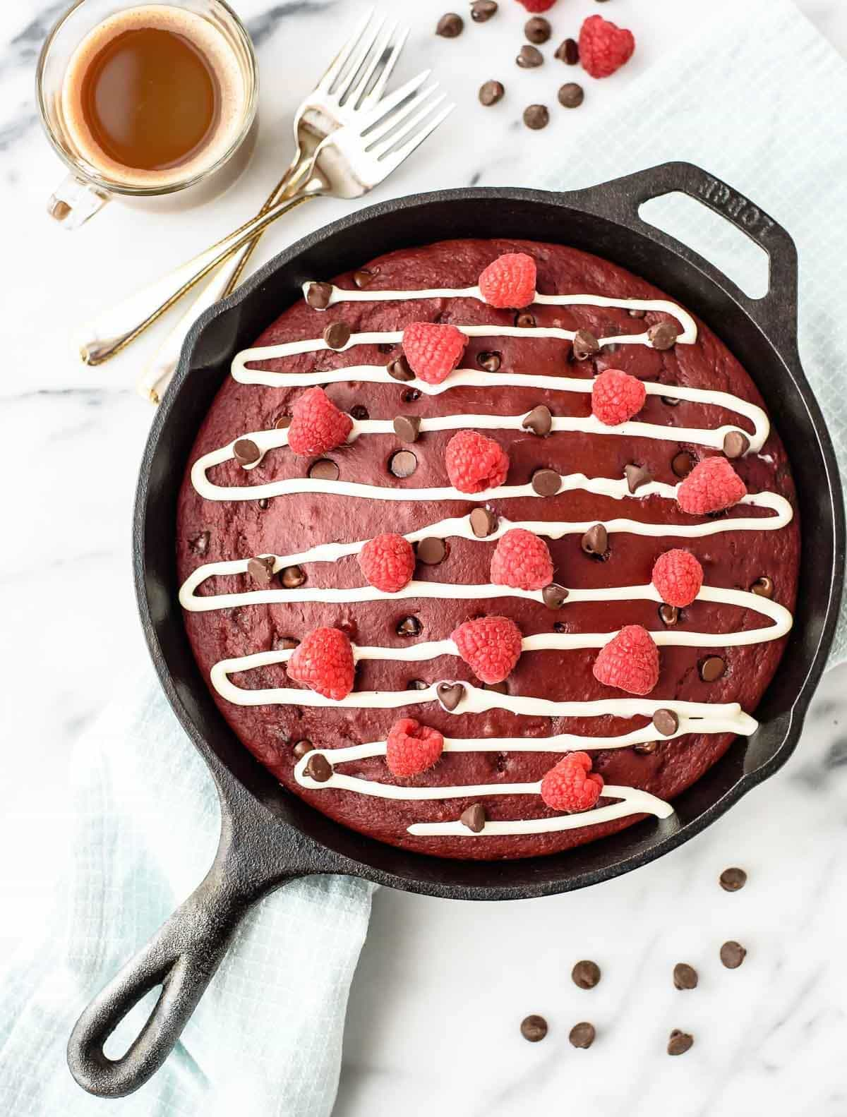 Easy Red Velvet Pancakes recipe with Cream Cheese Topping and Chocolate Chips