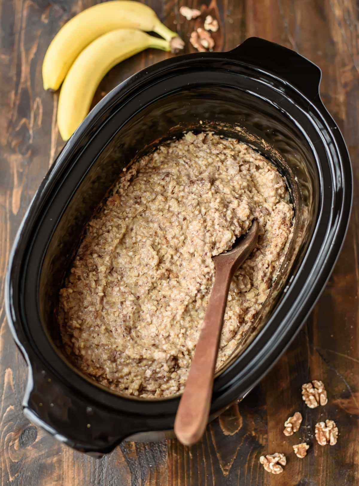 Overnight Steel Cut Oats made in the slow cooker. With banana, cinnamon, and nutmeg, this healthy oatmeal tastes like banana bread. You'll love waking up with breakfast ready to eat!