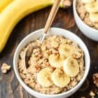 Slow Cooker Overnight Steel Cut Oats. Healthy steel cut oatmeal with the flavors of your favorite banana bread. Just dump everything in your crock pot, and in the morning, it's ready to eat!