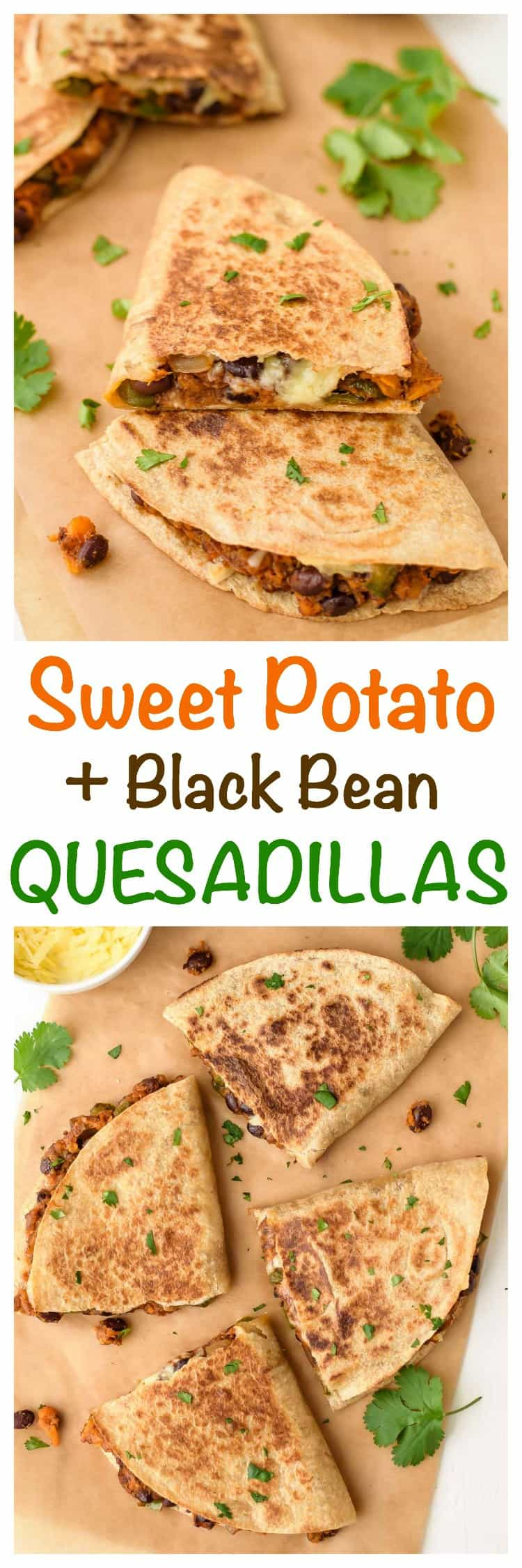 Sweet potato black bean quesadillas are a healthy, fast, vegetarian Mexican meal! Cheesy and crispy quesadillas with a sweet, smoky sweet potato and black bean filling. Even meat eaters love this easy quesadilla recipe! #Mexicanrecipes #recipe #appetizers #vegetarian #easydinner