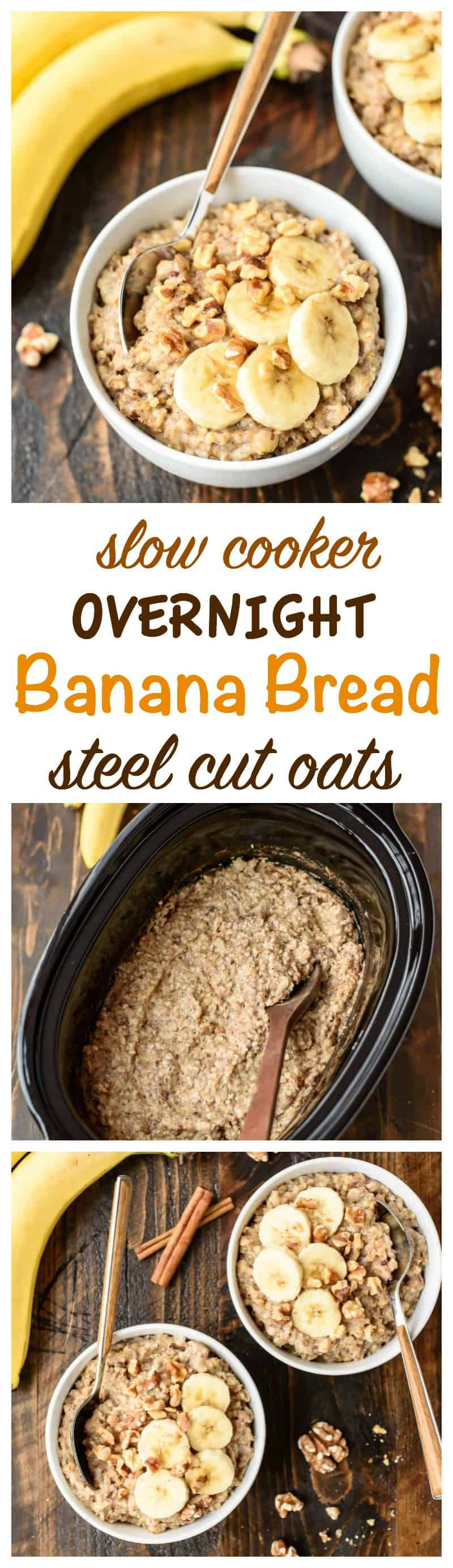 Banana Bread Overnight Slow Cooker Steel Cut Oats is the best breakfast recipe that you don't have to wait for! This easy oatmeal cooks overnight in a crock pot! #crockpot #breakfast #oatmeal #recipe