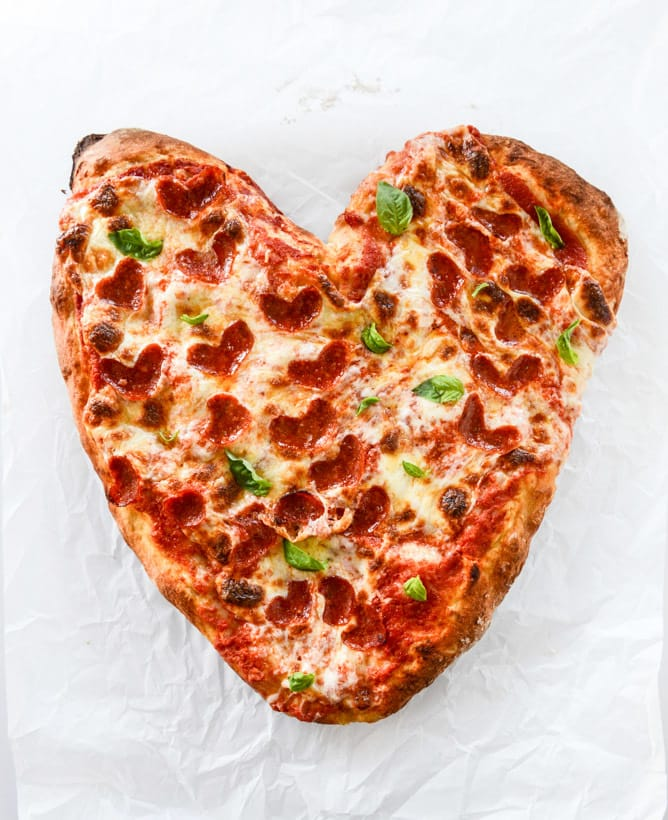 Valentine's Day Heart Pepperoni Pizza. What's more romantic than a heart-shaped dinner?!