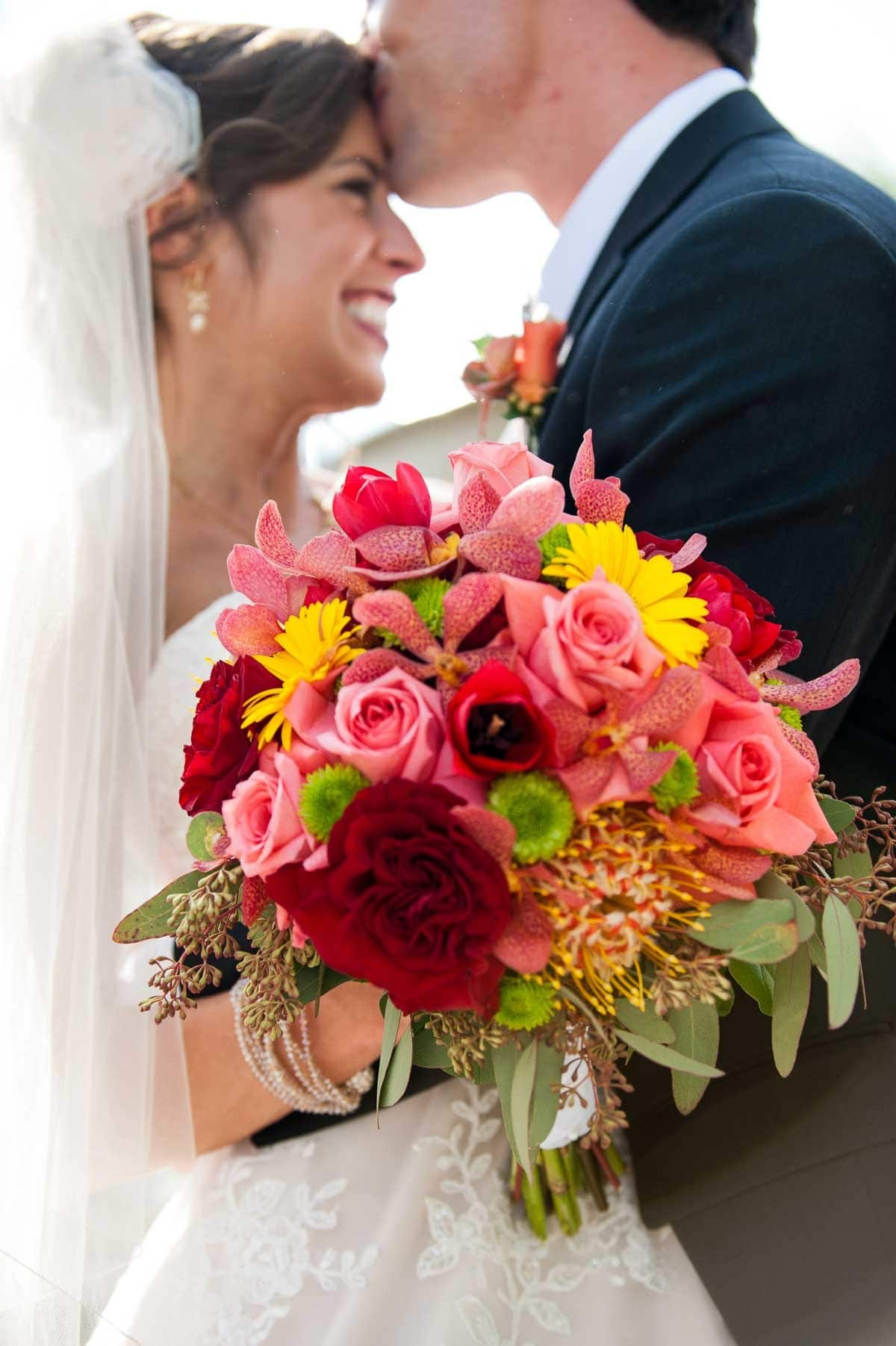 Colorful wedding bouquet for a spring wedding