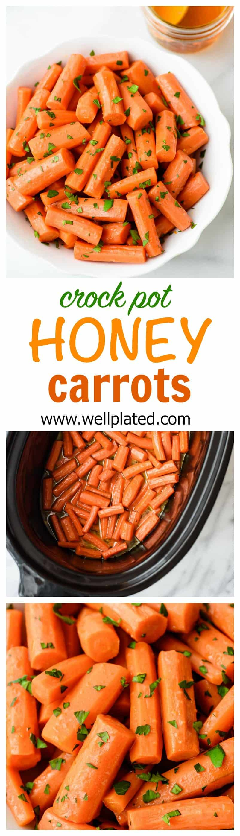 Honey Carrots made in a slow cooker come out tender, sweet, and delicious. This easy side dish is one of the best crock pot recipes for kids! #crockpot #slowcooker #kidfriendly #easysides #carrots