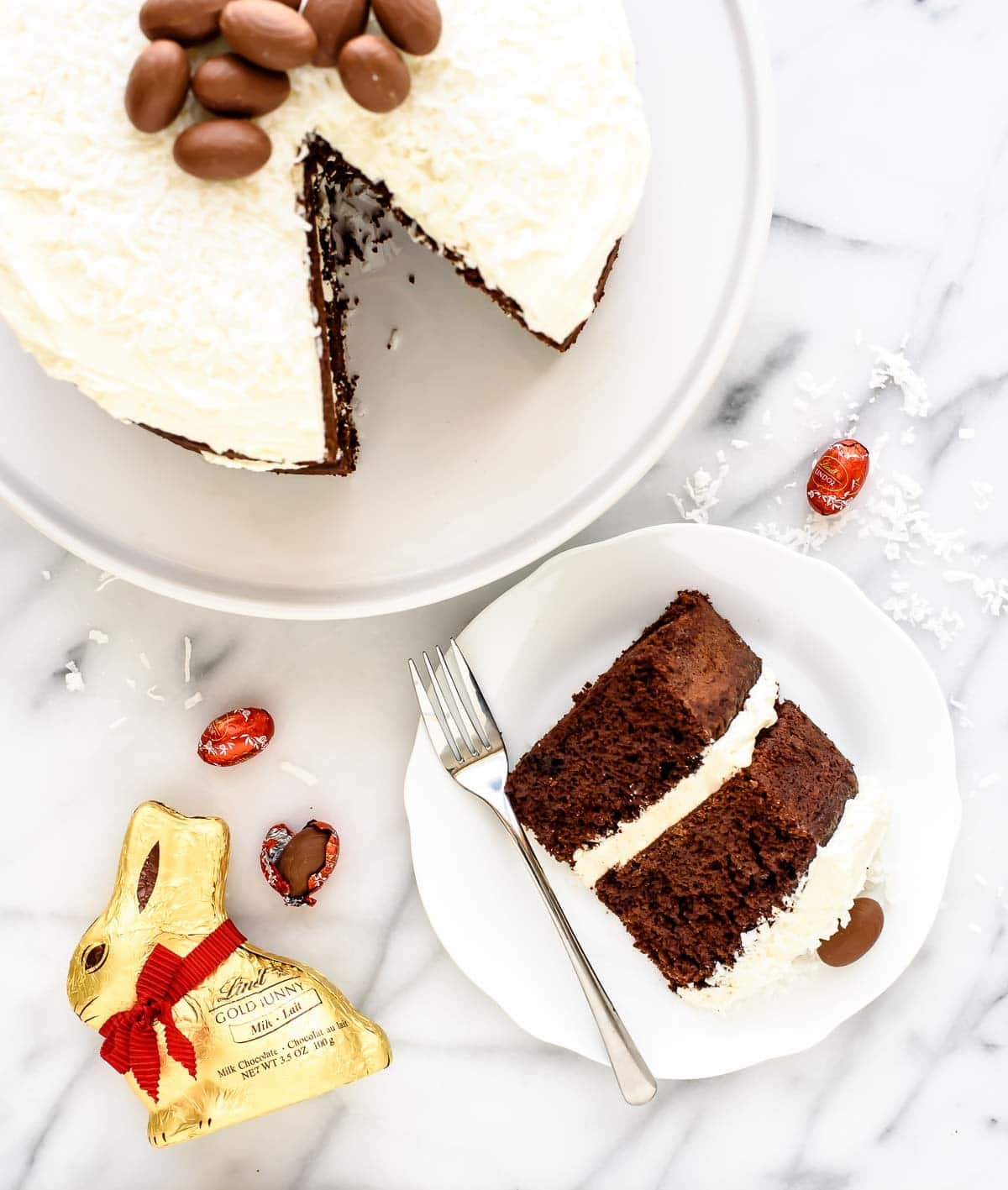 The BEST homemade chocolate cake you will ever bake: Fudgy Triple Chocolate Cake with White Chocolate Buttercream @wellplated